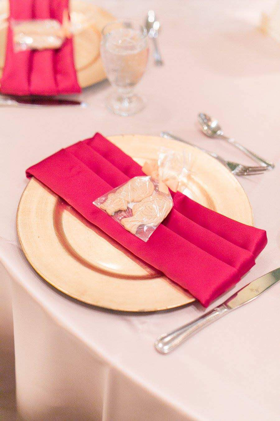 Red and Gold Mission Inn Resort Wedding A Chair Affair Gold Glass Charger