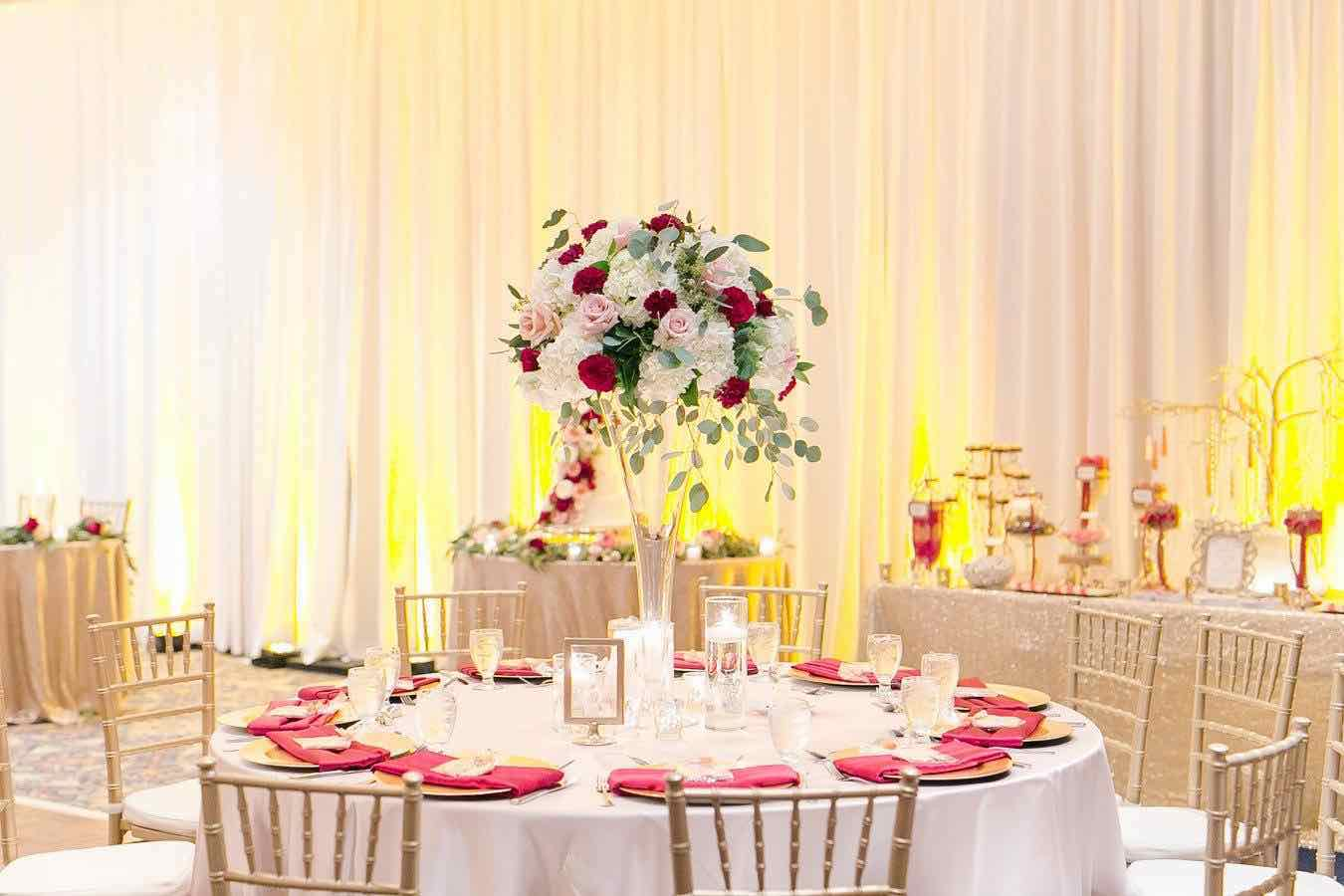 Red and Gold Mission Inn Resort Wedding A Chair Affair Reception 2