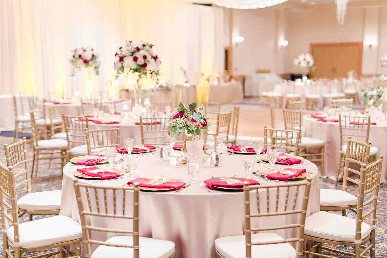 Red and Gold Mission Inn Resort Wedding A Chair Affair Reception
