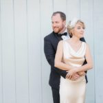 black and white wedding A Chair Affair newlyweds