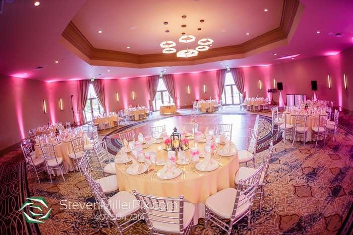 rosen shingle creek wedding A Chair Affair Reception Silver Chiavari Chairs