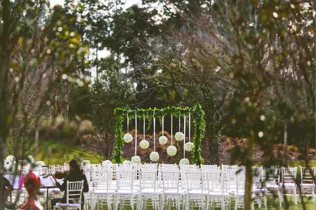 Glamorous Four Seasons Wedding A Chair Affair White Chiavari Chair Setup