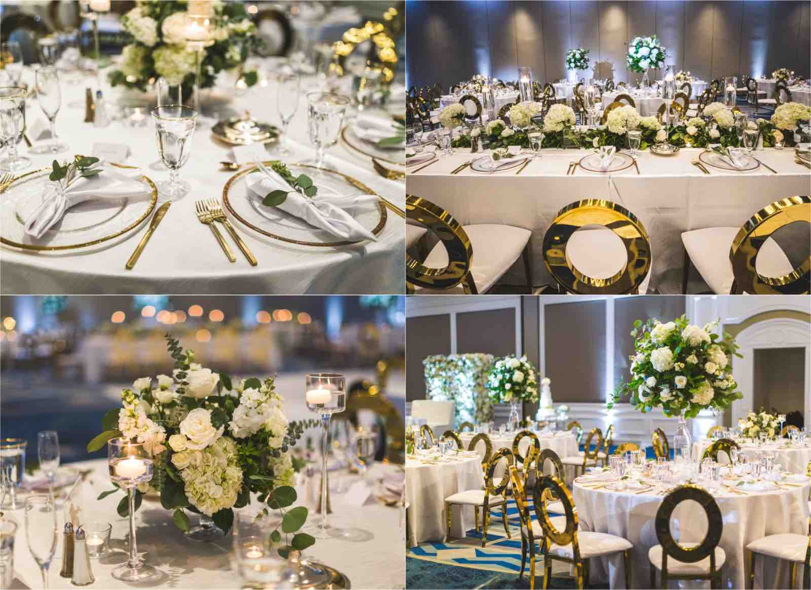 Ritz Carlton Sarasota wedding a chair affair Gold Rim Chargers and Gold Flatware