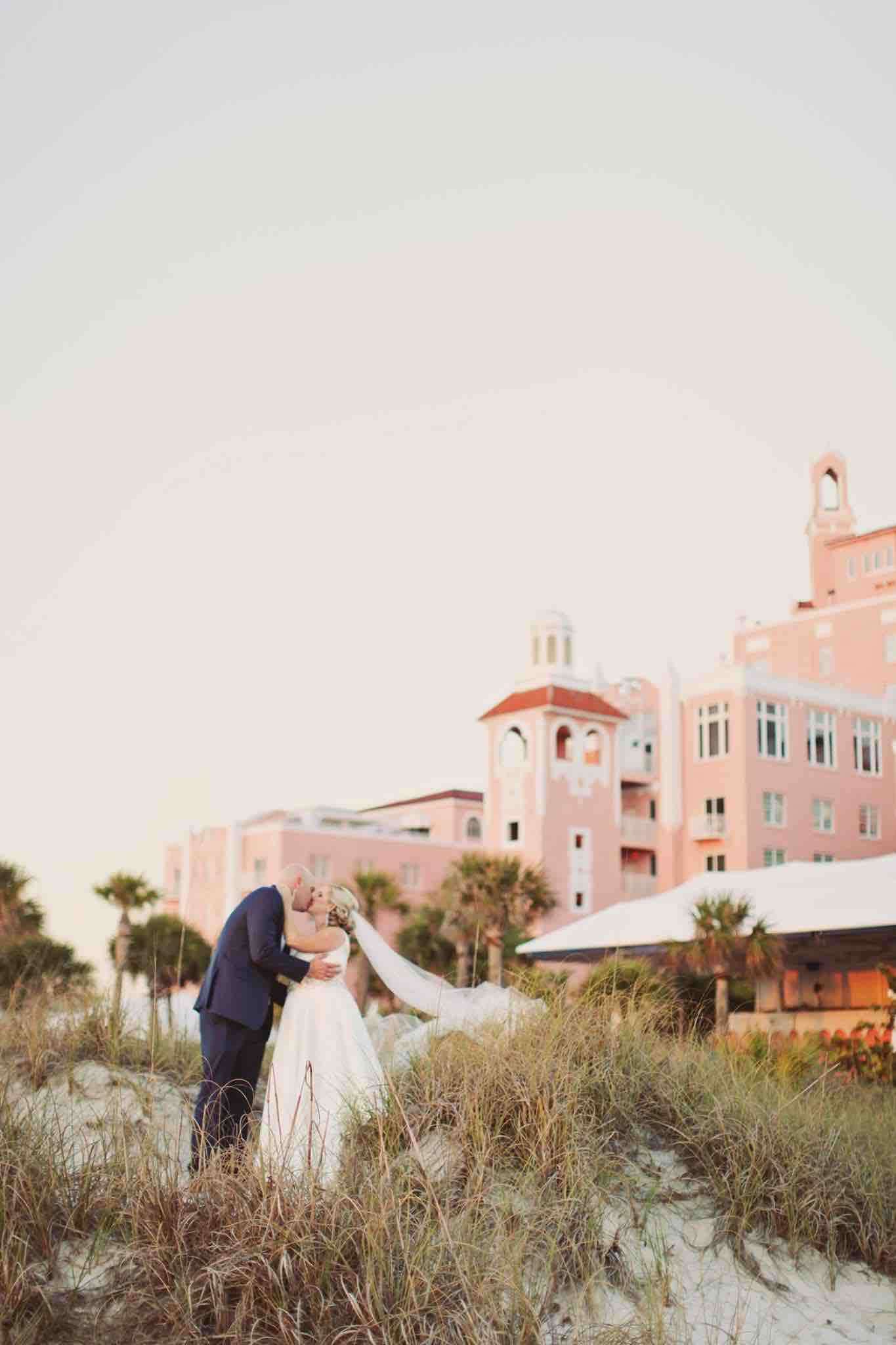 Sophisticated Blush and Gold Don CeSar Wedding A Chair Affair Bride and Groom