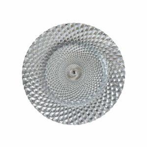 silver peacock glass charger - A Chair Affair Rentals