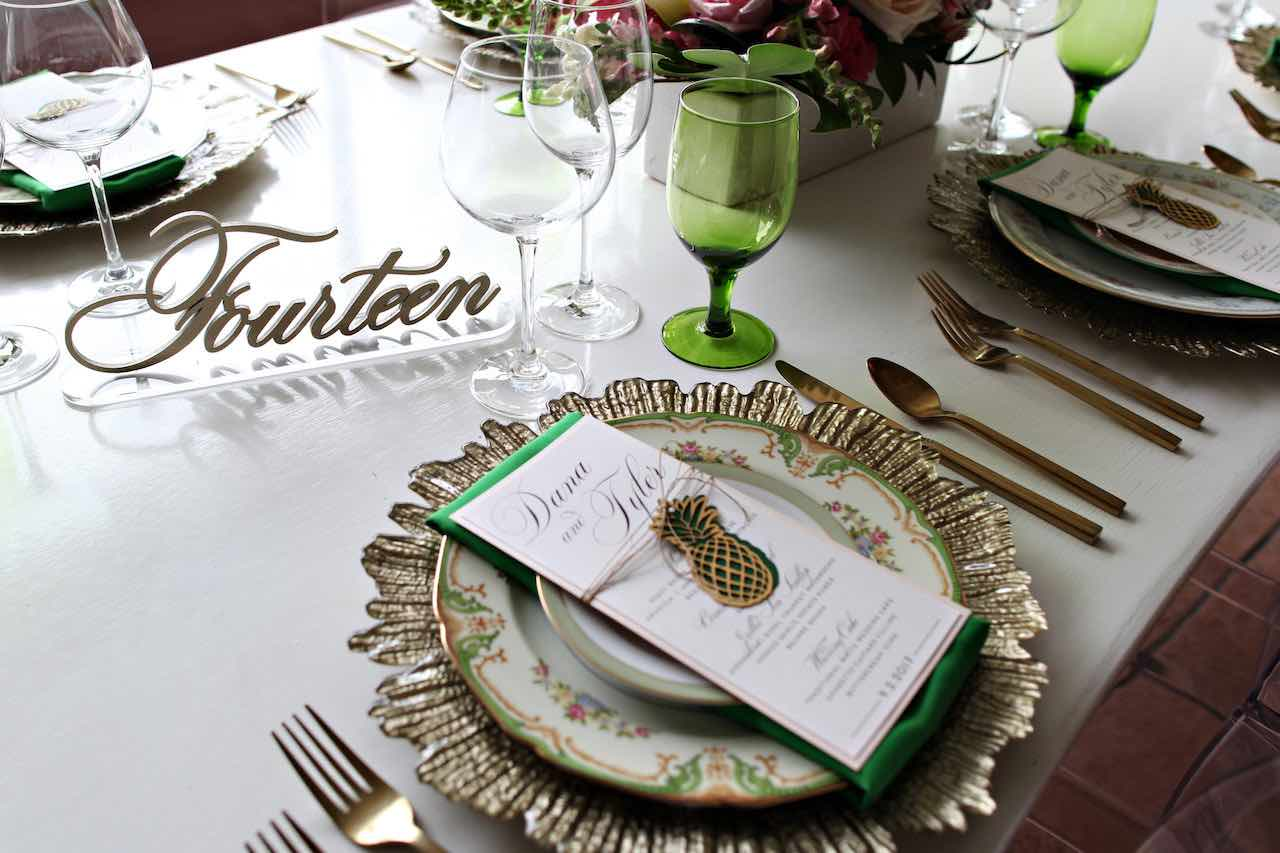 Vinoy Renaissance Wedding A Chair Affair Gold Seaburst Charger and Mismatched China Gold Flatware Green Goblet