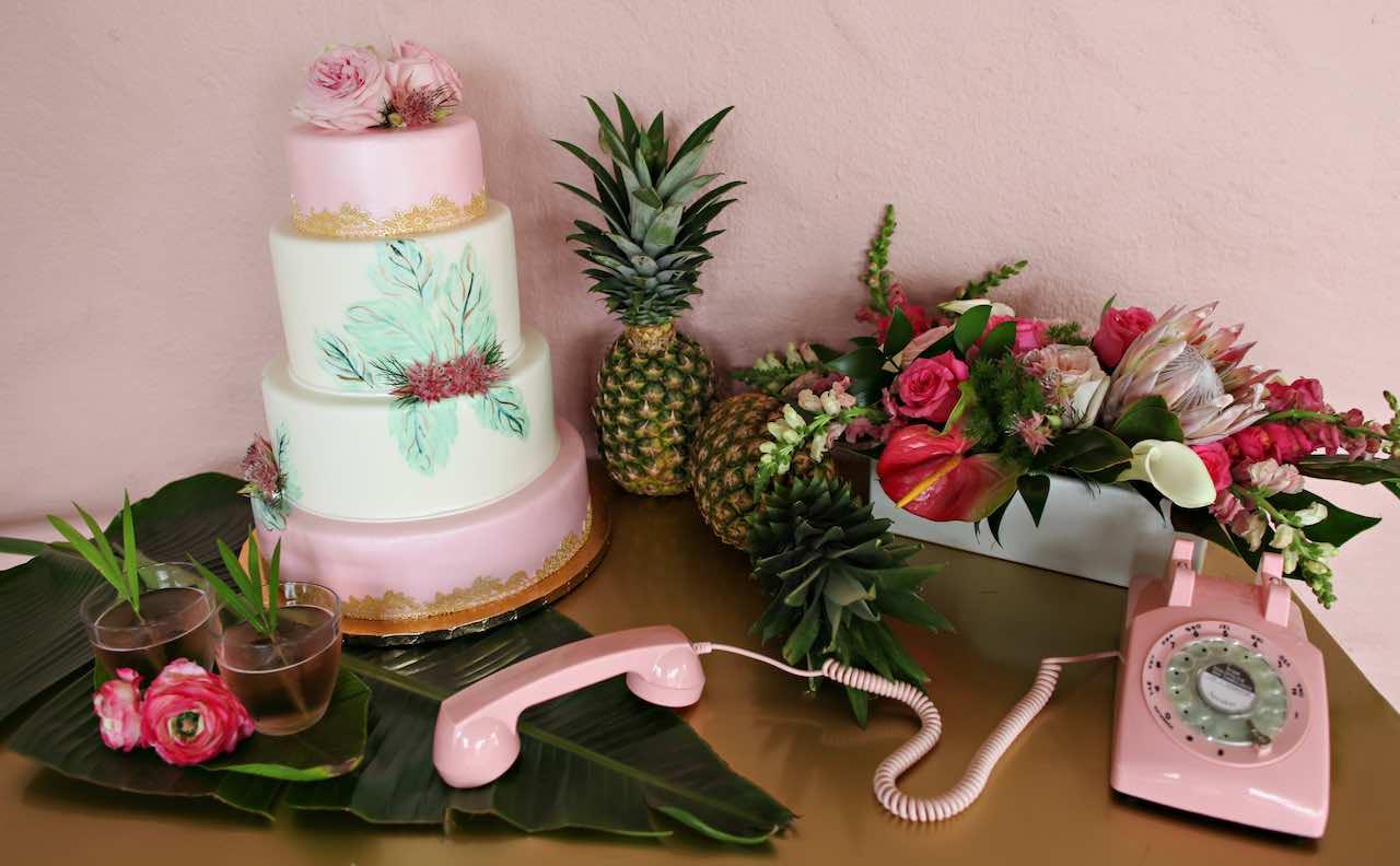 Vinoy Renaissance Wedding A Chair Affair Pink Phone and Cake