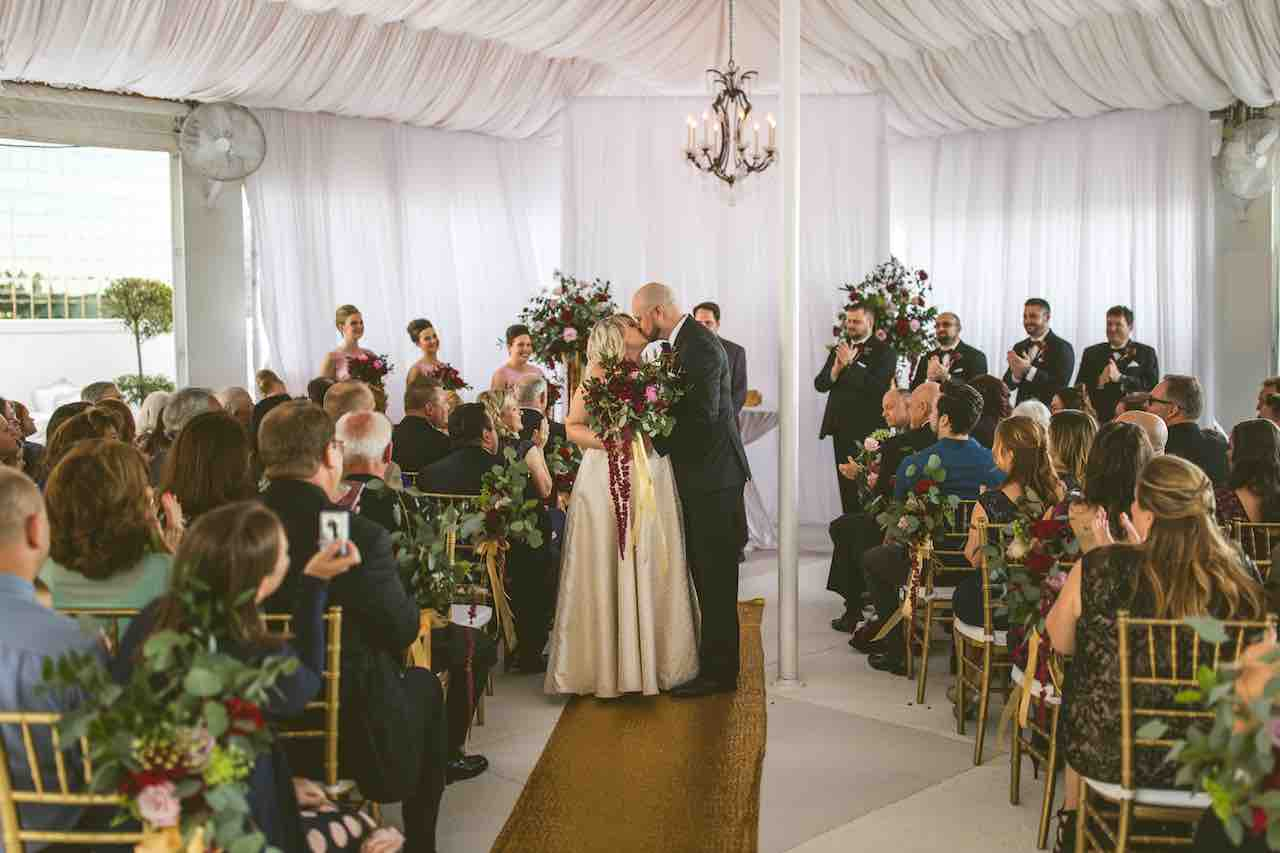 Romantic Cranberry and Gold Grand Bohemian Wedding A Chair Affair Gold Chiavari Chairs After Ceremony