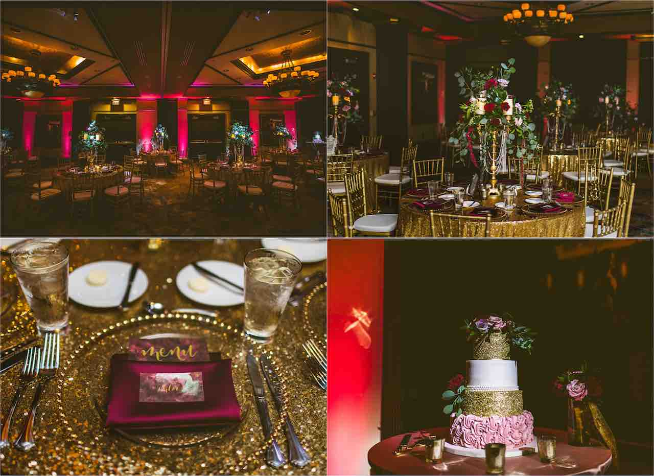 Romantic Cranberry and Gold Grand Bohemian Wedding A Chair Affair Gold Chiavari Chairs and Gold Belmont Charger