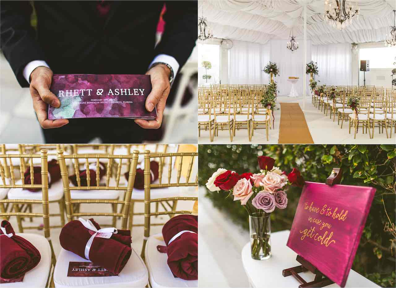 Romantic Cranberry and Gold Grand Bohemian Wedding A Chair Affair Gold Chiavari Chairs