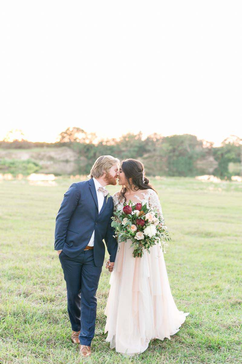 vintage-inspired farm wedding A Chair Affair newlyweds