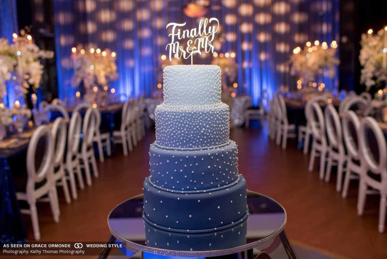 white and navy wedding A Chair Affair reception wedding cake