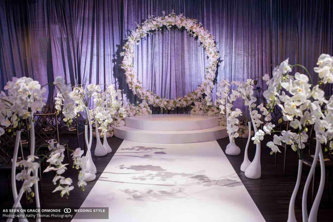 white and navy wedding aisle A Chair Affair