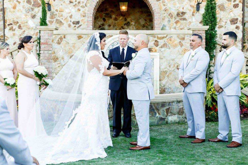 Ivory and gold Bella Collina wedding A Chair Affair ceremony