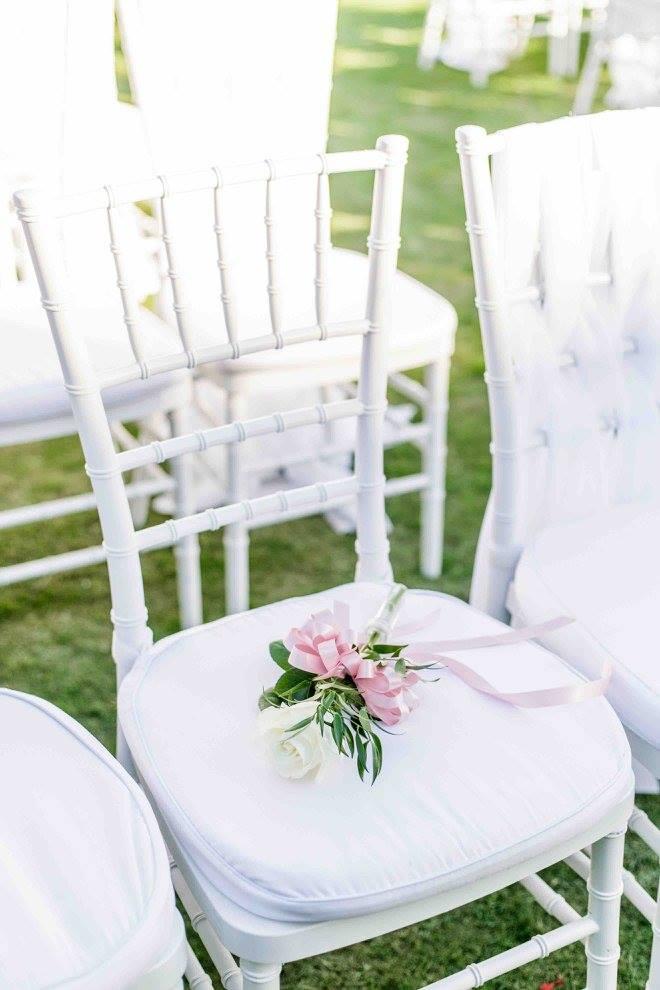 Ivory and gold Bella Collina wedding A Chair Affair white Chiavari chairs
