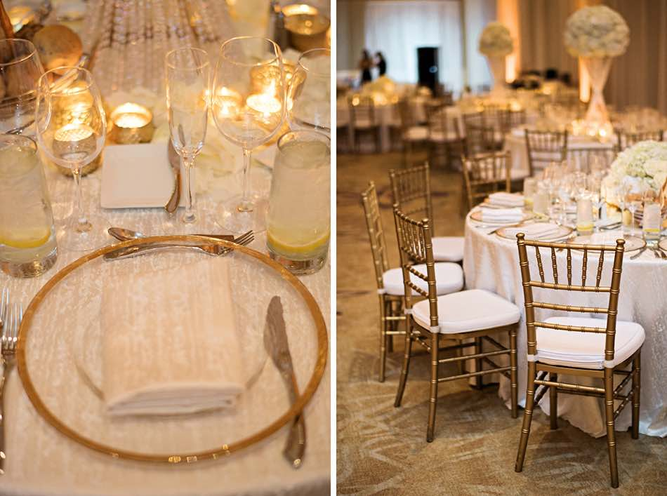 Jewish wedding A Chair Affair gold rim charger and gold Chiavari chair