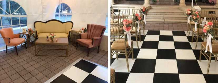Powell Crosley Wedding Black and White Dance Floor and Lounge Furniture
