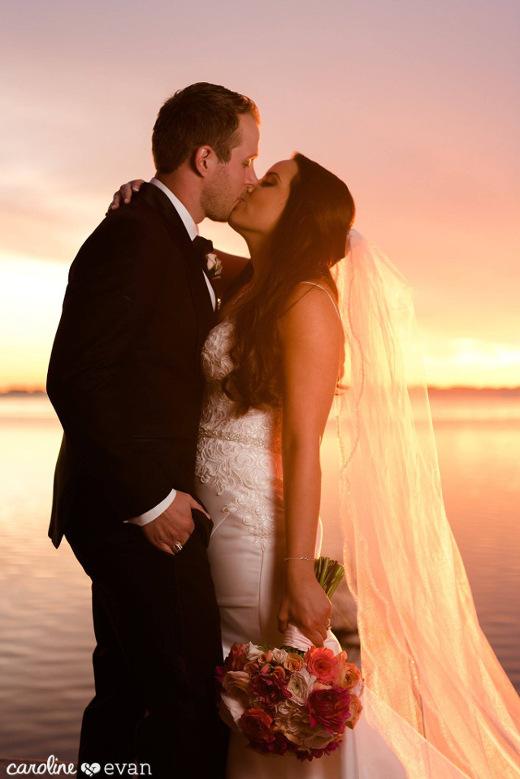 Powell Crosley Wedding Bride and Groom Sunset