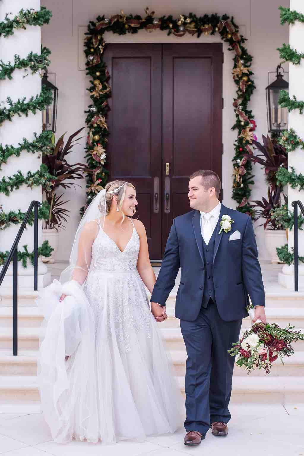 navy and burgundy wedding A Chair Affair couple