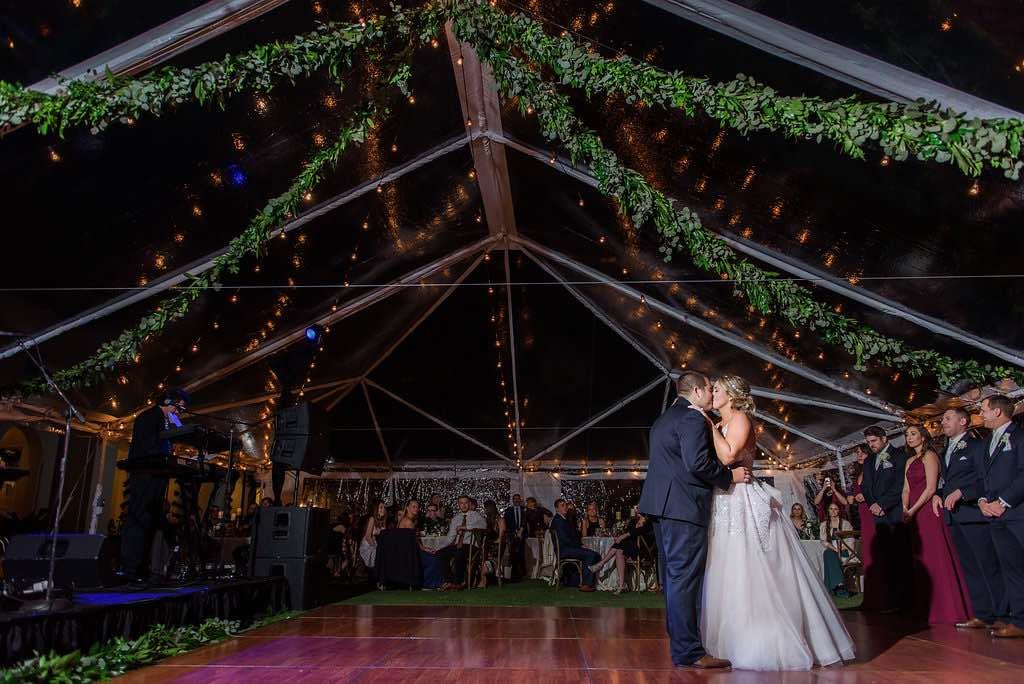 navy and burgundy wedding A Chair Affair reception First Dance