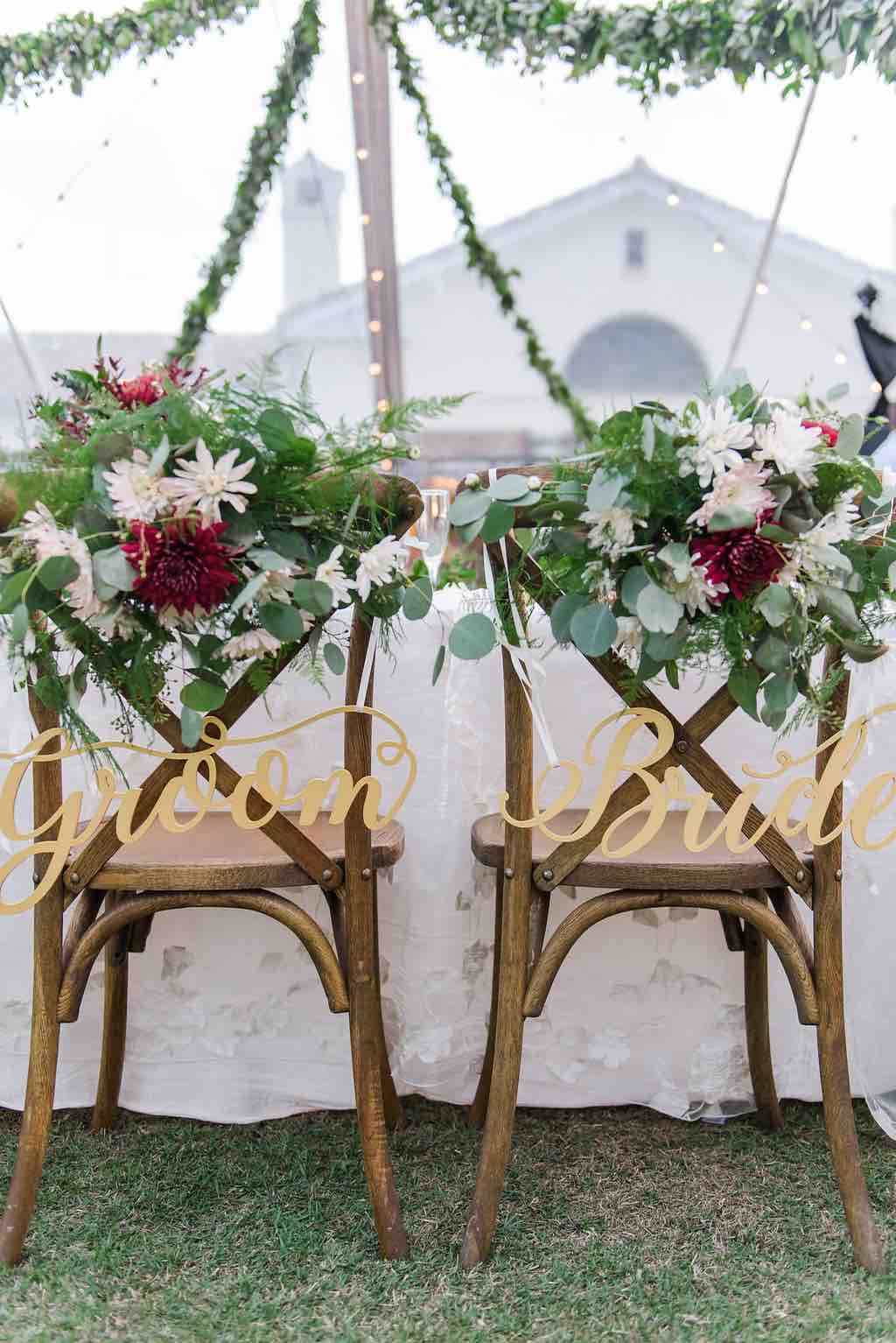 navy and burgundy wedding A Chair Affair reception French country chairs couple chairs