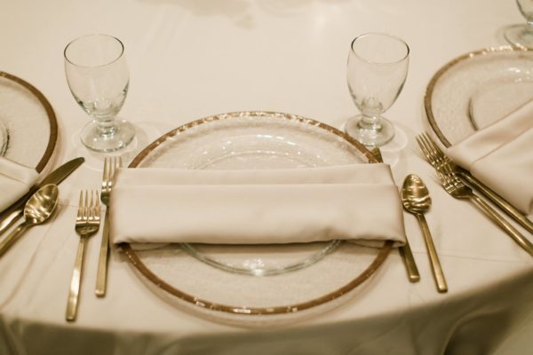 Gold Flatware, Gold Rim Chargers, A Chair Affair, Finny Hill Photography, Mahaffey Theater Wedding