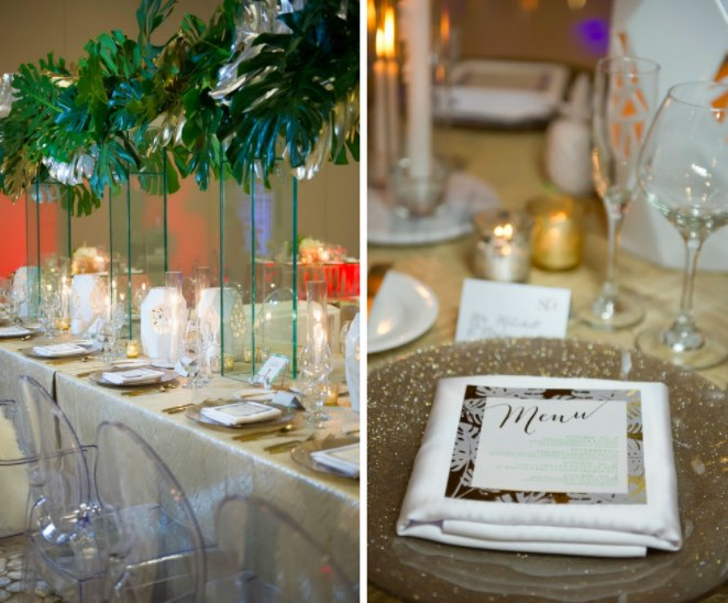 Modern Gold Ballroom Wedding Shoot A Chair Affair Ghost chairs and champagne glitter glass chargers