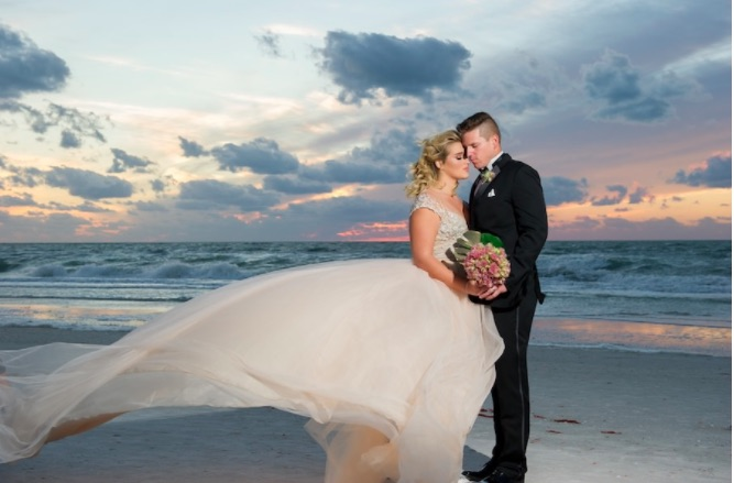 Wyndham Grand Clearwater Beach Modern Gold Ballroom Wedding Shoot