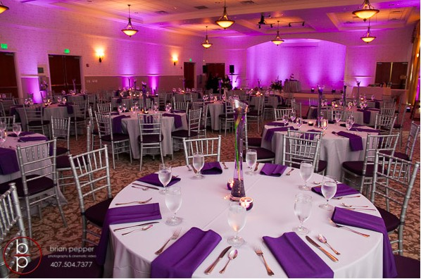 Lake Mary Events Center Emile and Brandon A Chair Affair silver chiavari chairs with plum pads