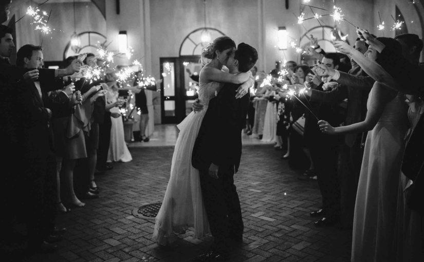 Sparkler send off Alfond Inn wedding Winter Park A Chair Affair newlyweds Sunglow Photography