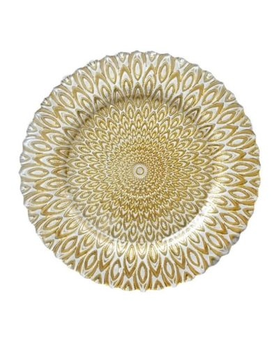 gold and white petal charger – A Chair Affair Rentals