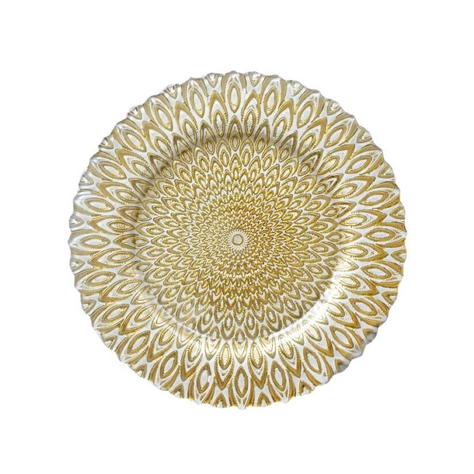 gold and white petal charger - A Chair Affair Rentals
