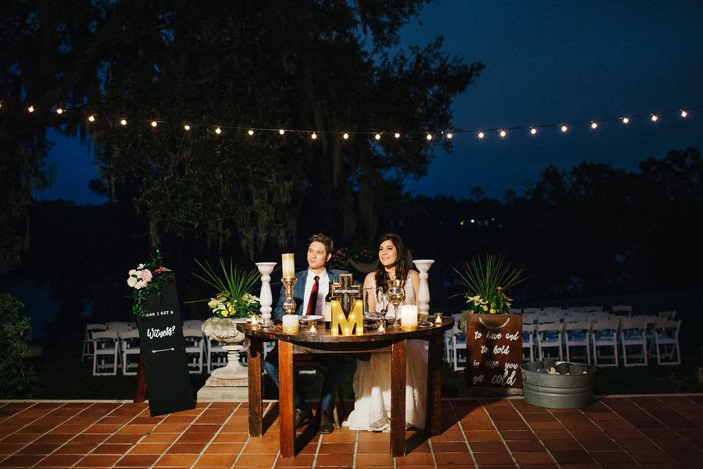romantic Sydonie Mansion wedding Shelbie and Justin at sweetheart table A Chair Affair