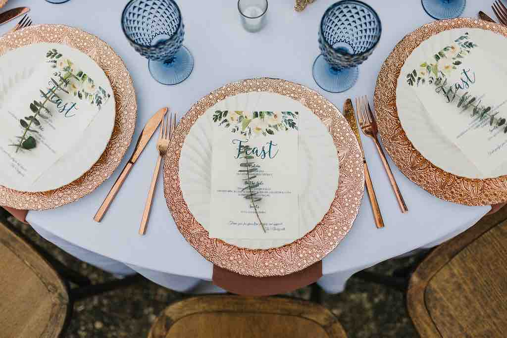 romantic Sydonie Mansion wedding Shelbie and Justin with wedding party Rose Gold Chargers A Chair Affair