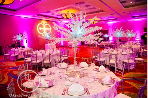 Alyssa and Claudel Lake Mary Wedding A Chair Affair Crystal Trees on Table