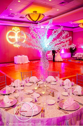 Alyssa and Claudel Lake Mary Wedding A Chair Affair crystal trees and silver Chiavari chairs