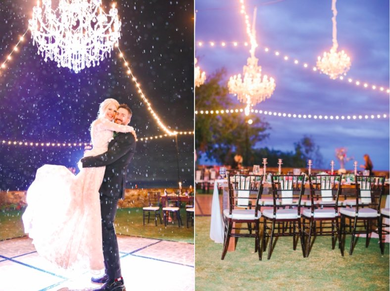 Fairytale Florida Wedding A Chair Affair Black Chiavari Chairs and white sparkle dance floor Bella Collina couple Lindsay and Jarrus