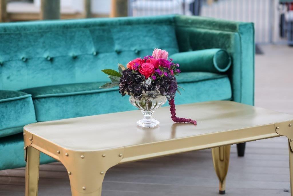 Isla del Sol Wedding Shoot-A Chair Affair-Emerald Brighton Sofa-Gold Fox Coffee Table