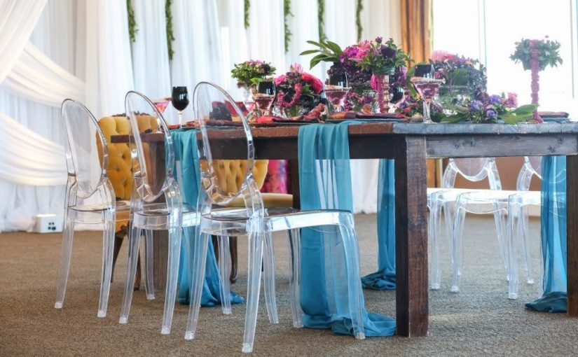 Isla del Sol Wedding Shoot-A Chair Affair-farm table-ghost chairs-Queen Ann chairs (2)