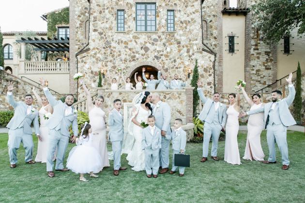 Bella Collina Beautiful Blush and Grey Wedding A Chair Affair Bridal Party