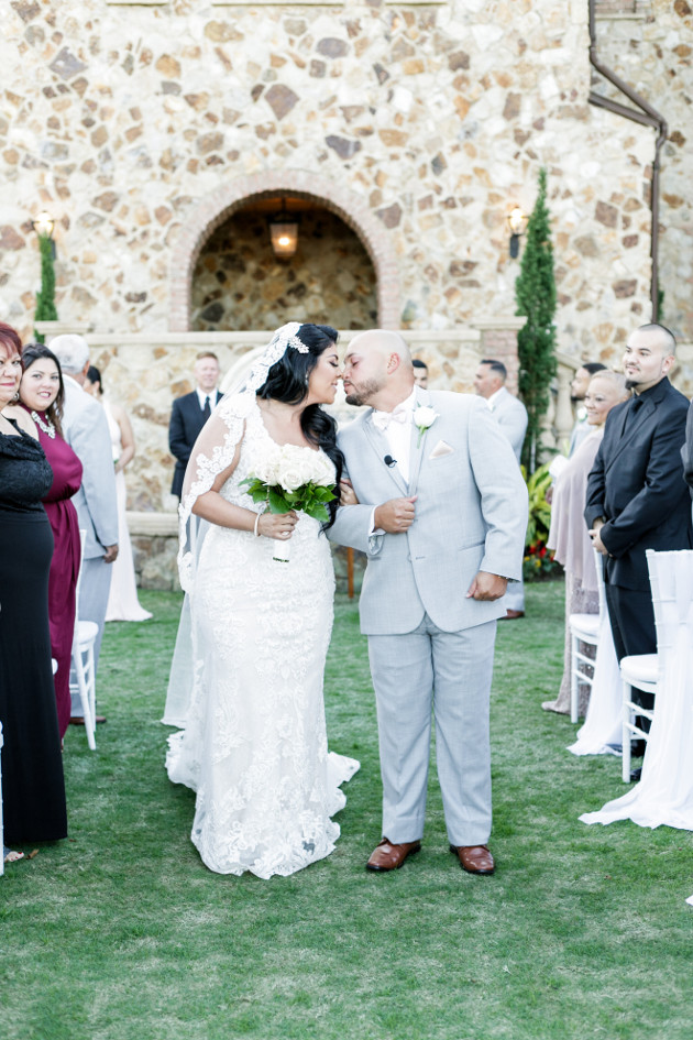 Bella Collina Beautiful Blush and Grey Wedding A Chair Affair Bride and Groom