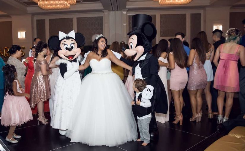 Traditional Birthday Celebration Four Seasons Orlando Quinceanera A Chair Affair Mickey and Minnie Mouse with Birthday Girl Marta Boschmann Photography
