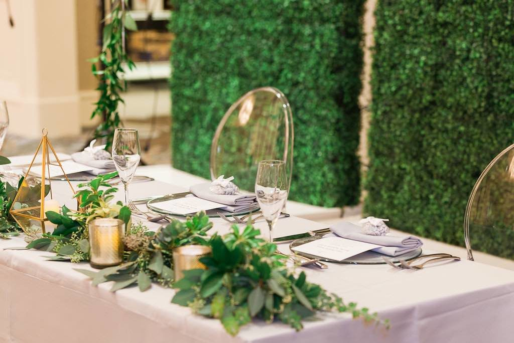 Traditional Birthday Celebration Four Seasons Orlando Quinceanera A Chair Affair ghost chairs and hedge walls Marta Boschmann Photography