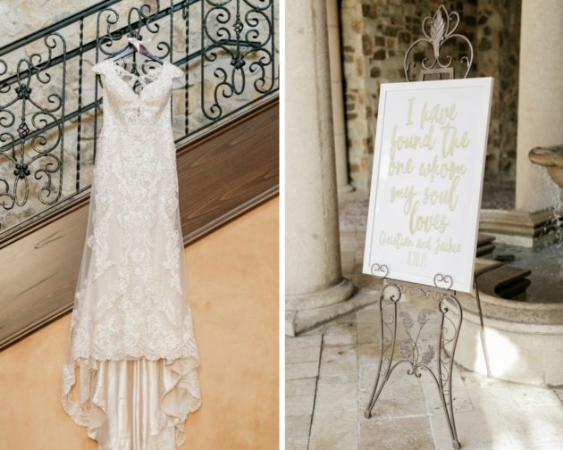 Bella Collina Beautiful Blush and Grey Wedding A Chair Affair Wedding Gown and Sign