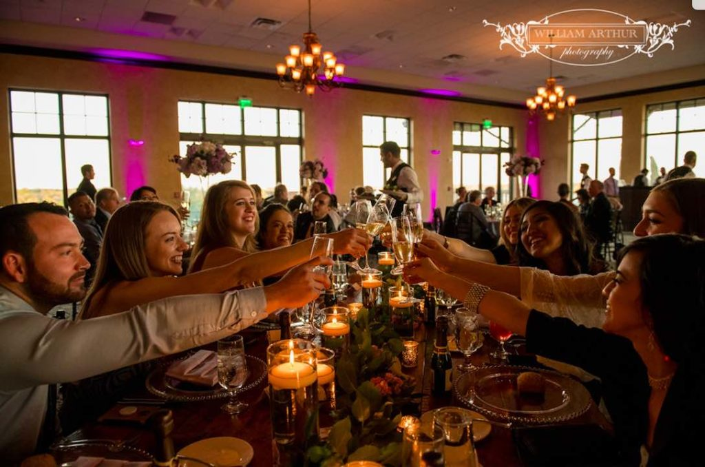 Bella Collina Wedding Reception A Chair Affair Silver Belmont Chargers William Arthur Photography