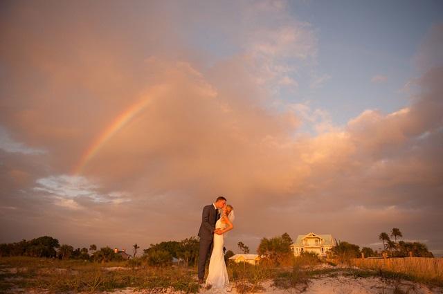 Carlouel Yacht Club Old Florida Wedding-Beach Ceremony Rainbow-A Chair Affair