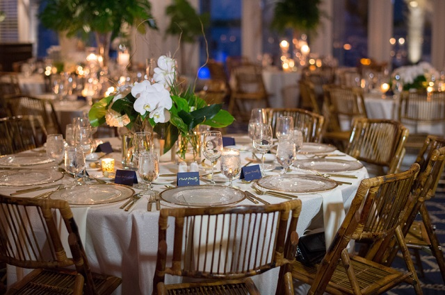 Carlouel Yacht Club Old Florida Wedding-Gold Rim Chargers-Bamboo Chairs-A Chair Affair