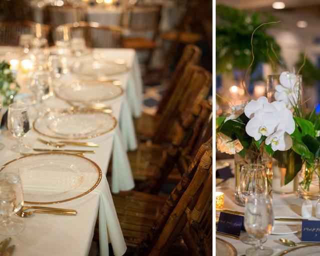 Carlouel Yacht Club Old Florida Wedding-Reception-Gold Rim Chargers-A Chair Affair