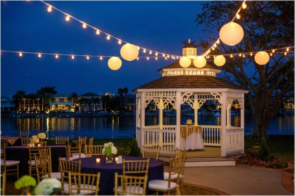 davis island garden club outdoor wedding gold chiavari chairs table linens reception - Davis Island Garden Club