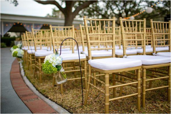 Davis Island Garden Club Outdoor Wedding- Gold Chiavari Chairs with Ivory Pads-A Chair Affair